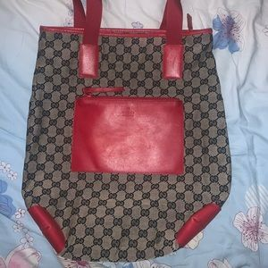 gucci gg canvas tote navy and red leather